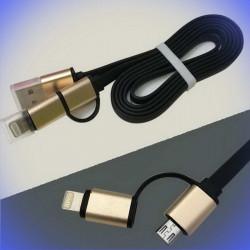 Câble USB vers Micro-USB ET Lightning pour chargement et données
