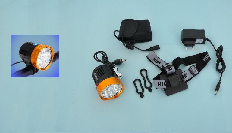 Lampe frontale puissante avec 2010 Lumens SDC et accumulateur li-ion séparé utilisable aussi sur un vélo ou VTT